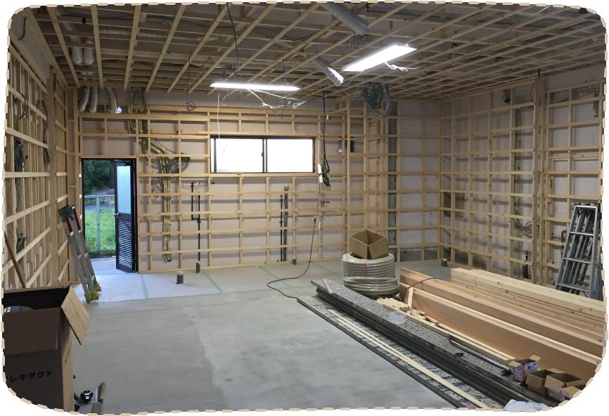 天井と壁の基礎工事完了