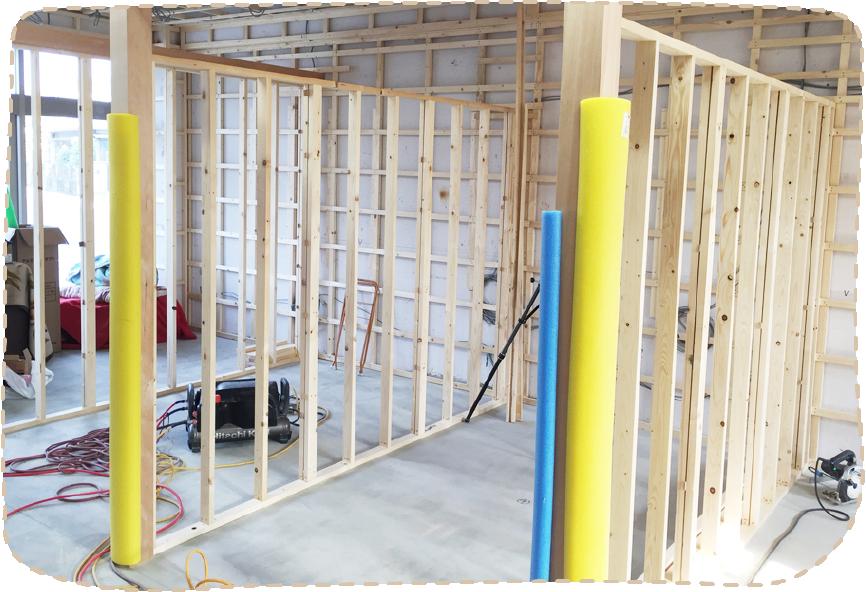 治療室の壁の基礎工事